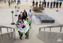 Deposição de coroa de flores no Memorial Amílcar Cabral pelo Presidente da República, em…