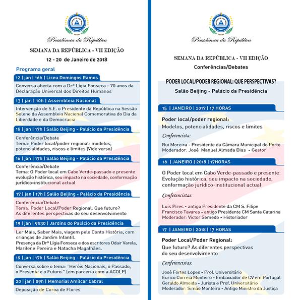 VII EDIÇÃO DA SEMANA DA REPÚBLICA / 12 A 20 DE JANEIRO À semelhança…
